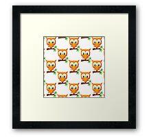 Cartoon Little Owl On Branch Pattern Framed Print