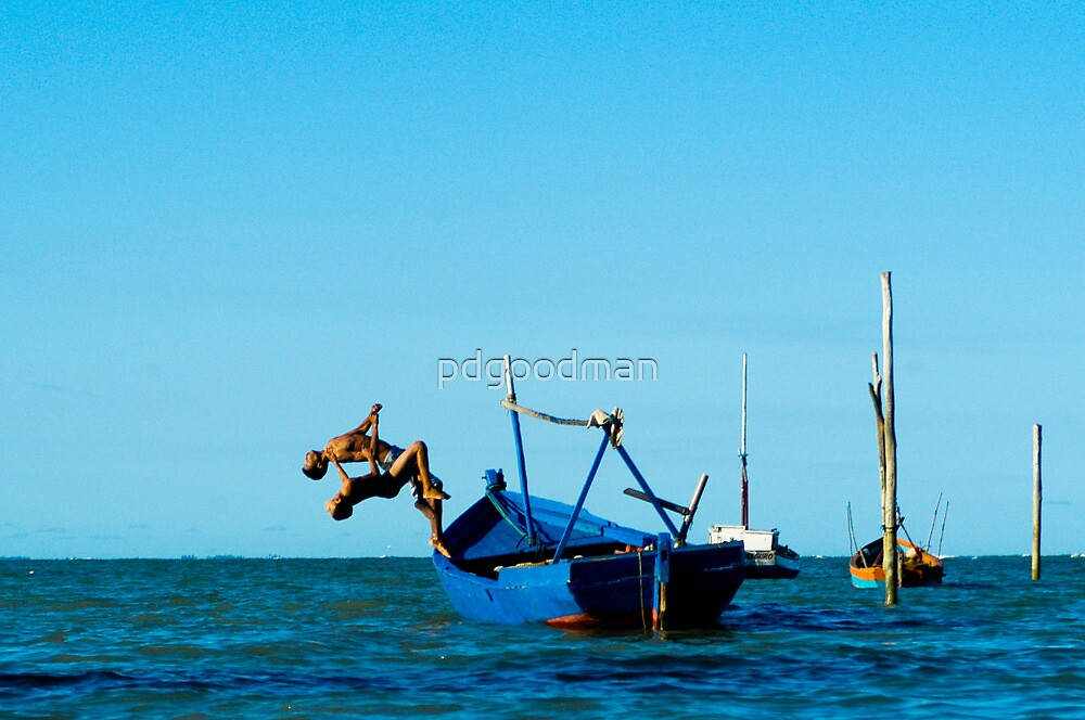 Children Jumping into the Ocean in Brazil by pdgoodman