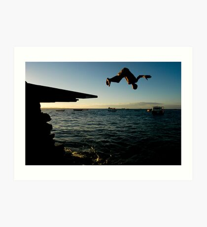 Young Man Dives into Ocean in Brazil Art Print