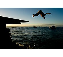 Young Man Dives into Ocean in Brazil Photographic Print