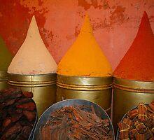 Spices shop in the medina of Marrakesh, Morocco by Brünø Beach .