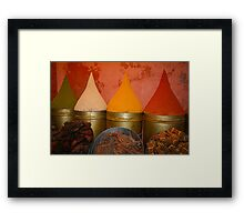 Spices shop in the medina of Marrakesh, Morocco Framed Print