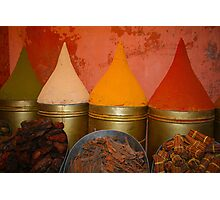 Spices shop in the medina of Marrakesh, Morocco Photographic Print