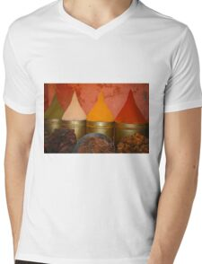 Spices shop in the medina of Marrakesh, Morocco Mens V-Neck T-Shirt