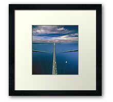 A View from the South Tower of the Mackinac Bridge Framed Print