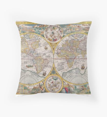 Antique Map of the World & Heavens2 Throw Pillow