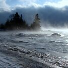 Island on Superior shore drive at Rossport Ontario Canada by loralea