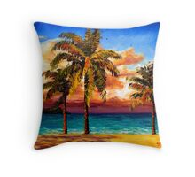 Jamaican Beach Palm Trees Throw Pillow