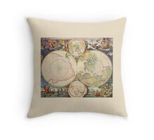 Antique Map of the Poles (Part of a set) Throw Pillow