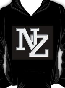 NZ letters New Zealand white on black T-Shirt