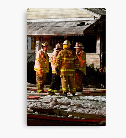 Fireman meeting Canvas Print