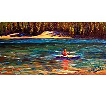 Oregon Cascade Lake Kayaker Photographic Print