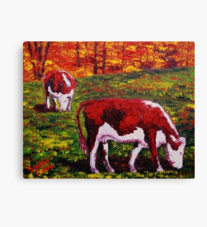 New England Autumn Cows Canvas Print