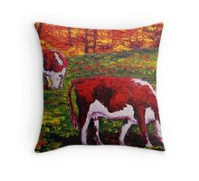 New England Autumn Cows Throw Pillow