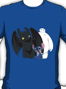 Toothless,Stitch and Baymax T-Shirt