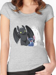 Toothless,Stitch and Baymax Women's Fitted Scoop T-Shirt