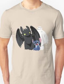 Toothless,Stitch and Baymax Unisex T-Shirt