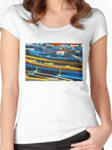 Blue fishing boats in Ahrud near Agadir, Morocco Women's Fitted Scoop T-Shirt