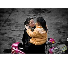 Mom Saying Goodbye To Daughter Photographic Print