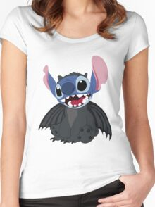 Stitch wearing a Toothless Onsie Women's Fitted Scoop T-Shirt