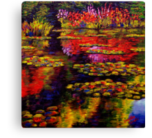 Flowers by Monet's Pond (1502) Canvas Print