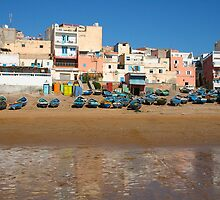 Blue fishing boats in Ahrud near Agadir, Morocco by Atanas Bozhikov NASKO
