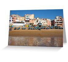 Blue fishing boats in Ahrud near Agadir, Morocco Greeting Card
