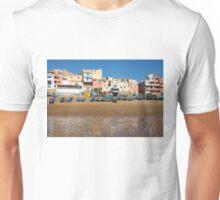 Blue fishing boats in Ahrud near Agadir, Morocco Unisex T-Shirt