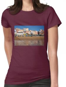 Blue fishing boats in Ahrud near Agadir, Morocco Womens Fitted T-Shirt