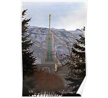 Mt. Timpanogos Temple - Framed in Trees Poster