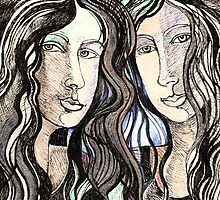 Two Imaginary Women in Pen and Ink With Accents of Various Colors  by Ivana Redwine