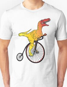 Dinosaur Riding a Penny Farthing Unisex T-Shirt