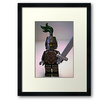 Dragon Knight Minifigure with Scale Mail with Chains, Helmet Closed, & green plume  Framed Print
