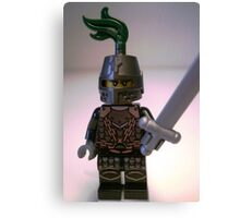 Dragon Knight Minifigure with Scale Mail with Chains, Helmet Closed, & green plume  Canvas Print