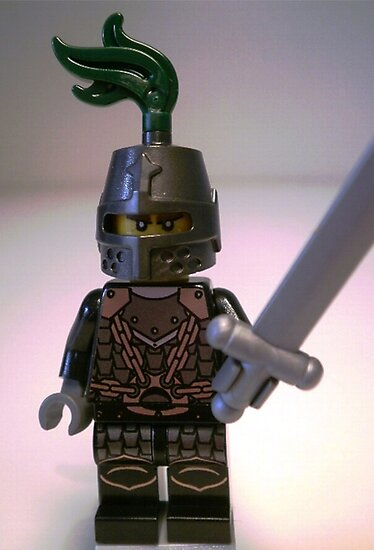 Dragon Knight Minifigure with Scale Mail with Chains, Helmet Closed, & green plume  by Customize My Minifig