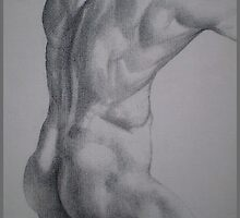 Male Model Pointilism - Nude by Louise Page