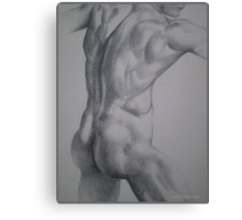 Male Model Pointilism - Nude Canvas Print