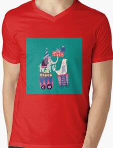 Fun Circus Elephant Mens V-Neck T-Shirt