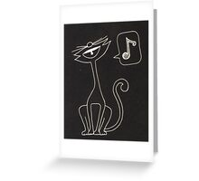 black cat singing  Greeting Card