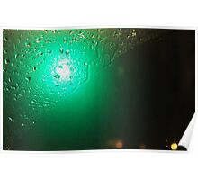Traffic Lights And Rain - Green Poster