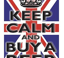 UNION JACK, FLAG, KEEP CALM & BUY A BEER, UK, ON WHITE by TOM HILL - Designer