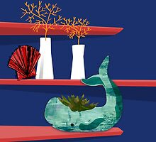Whale on a shelf by Lucinda Kidney