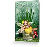 Birthday Card With Cute Fairy On Cell Phone Greeting Card