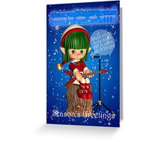 Elf Singing Silent Night Season's Greetings Christmas Card Greeting Card