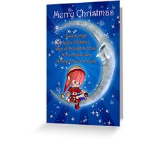The Night Before Christmas With Cute Elf Sat On A Moon With Mouse Greeting Card
