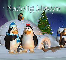 Nadoleg Llawen Welsh Language Christmas Card With Penguin Family by Moonlake