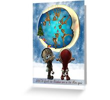 Christmas Card With Two Elfs And Reindeer Being Naughty Greeting Card