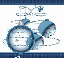 Decorative Christmas Ornament Card In Blue Ideal For Business by Moonlake