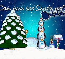 Excited Penguins On The Lookout For Santa by Moonlake