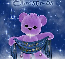 Baby's First Christmas With Cute Purple Bear Holding A Banner Scarf by Moonlake